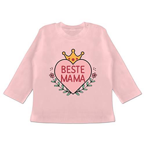 Muttertag Baby - Beste Mama Herz mit Krone - 18-24 Monate - Babyrosa - BZ11 - Baby T-Shirt Langarm (Superhelden Haut Passt)