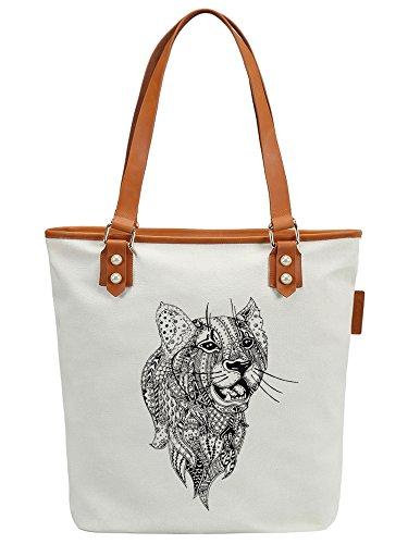 S.CHU Women's Aztec Leopard Canvas Leather Tote Handbag Ladies Shoulder Bag Weiß