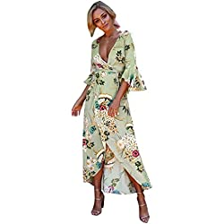 Yesmile Vestido de Mujer Vestido Corto Partido Vestido Elegante de Noche para Boda Boho Vestido Maxi Largo de la Fiesta de Verano de la Playa de las Mujeres (Verde, XXL)