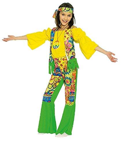 (K31250582-140-152 Kinder Hippie Kostüm grün-gelb Hippykostüm Gr.140-152)