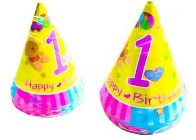 12PK 1St Birthday Hats Party Table Ware Decoration Boy Girl Kids