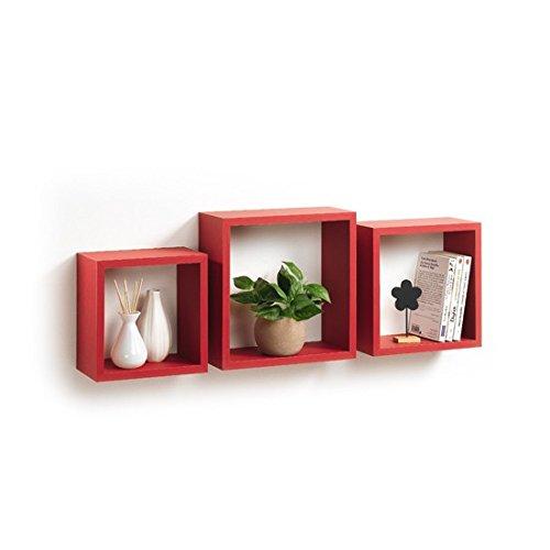 Modul'home 6ran789bc - mensole a cubo, in mdf, 11,8 x 30 x 30 cm, pannello mdf, rosso, 3 taglie 23 cm/26,5 cm/30 cm