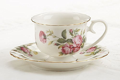 Delton Products Pink Peony Rose Pattern Porcelain Tea Cup and Saucer (Set of 2) by Getting Fit