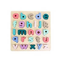 Volwco Wooden Alphabet Puzzle Board, Wooden Puzzle Upper Case Letters, Lower Case Letters, Shapes And Numbers Learning Board Toys, Early Educational Toys For Boys And Girls