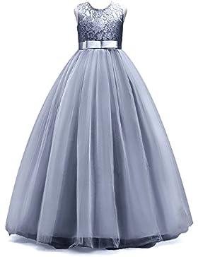 Timlung Kinder Mädchen Spitzenkleid Blumenkleid Abendkleid