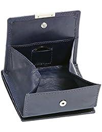 Wiener-Schachtel mit großer Kleingeldschütte LEAS, in Echt-Leder, dunkelblau - ''LEAS Special Edition''