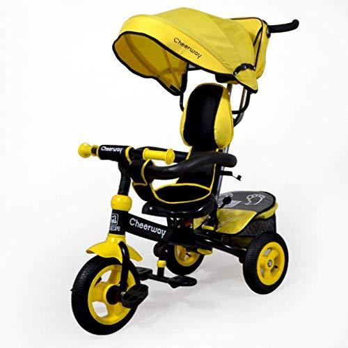 Xyq carrello per passeggini 1-6 anni sedile con ruote ruota per biciclette telaio in acciaio al carbonio regolabile tendalino gommone gonfiabile ruota anteriore frizione passeggino,giallo