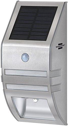 Brennenstuhl LED-Wand- und Pfostenleuchte / Außenleuchte mit Bewegungsmelder (Wandleuchte außen IP44 mit 2 LEDs, 30 Lumen + Akku) Farbe: silber