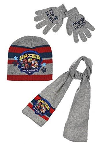 Paw Patrol Kids Mütze Schal und Handschuhe Set (Grau, 52 cm)