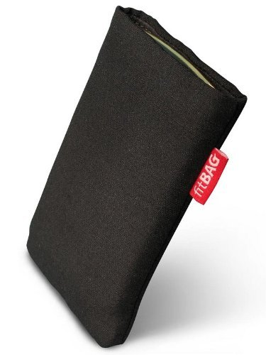 fitBAG Rave Schwarz Handytasche Tasche aus Textil-Stoff mit Microfaserinnenfutter für Samsung SGH-J150