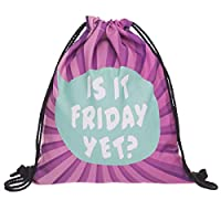 Creativee Boys Girls Teenager Drawstring Bag ,Full printing Drawstring Backpack School Shoulder Backpack Nylon Folding Bag for School Home Travel Sport Storage (Friday yet purple)