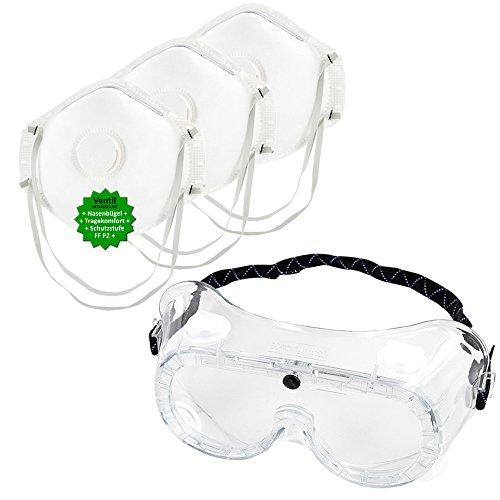 Schutz-Set bestehend aus Vollsichtbrille (auch geeignet für Brillenträger) + 3 Stück P2 Atemschutz-Masken - Mundschutz gegen Sprühnebel, Staub, Feinstaub. Persönliche Schutzausrüstung zum Ausbringen von Pflanzenschutzmitteln, beim Renovieren, uvm. GREEN24 Profi ()
