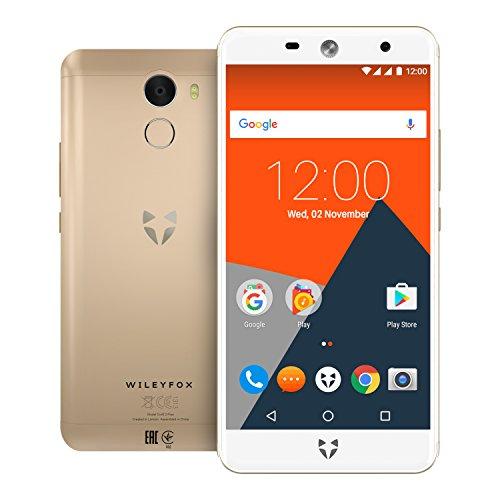 Wileyfox-Swift-2-Plus-smartphone-con-display-HD-da-5-pollici-32GB-memoria-interna-e-3GB-RAM-Dual-Sim-4G-SIM-Free-Smartphone-Android-Nougat-711-Oro-con-custodia-e-schermo-di-ricambio