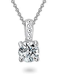 Rafaela Donata - Collier avec pendentif collier maille forçat - Argent sterling 925 oxyde de zirconium, collier oxyde de zirconium, bijoux en argent - 60903022