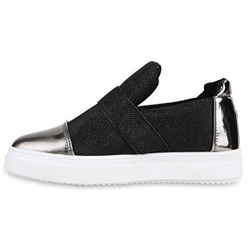 Slipper Schwarz Lack Sneakers Metallic Damen Glitzer ons Slip 0qwOSvXX
