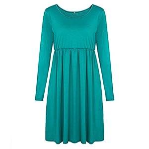 Providethebest Frauen-Mädchen-Reine Farbe Splicing O-Ansatz großer Rand-Kleid Langarm Minikleid