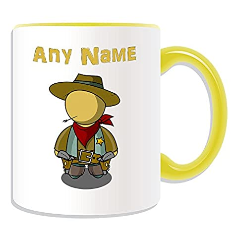 Personalised Gift - Cool Cowboy Mug (Fairy Tale Design Theme, Colour Options) - Any Name / Message on Your Unique - Straw
