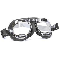 Halcyon MK49–Gafas de Piel Negro Clásicos de Moto, compactos, de Aviador