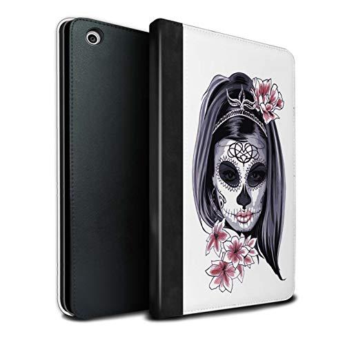 �lle/Case/Brieftasche für Apple iPad Mini 1/2/3 Tablet/Skelett Blume Skizzieren Muster/Tag Der Toten Festival Kollektion ()