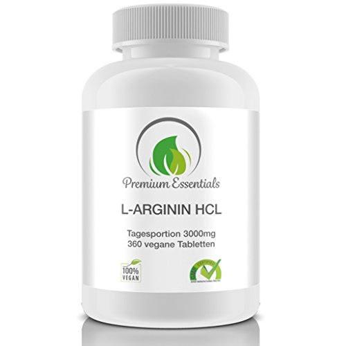 L-Arginin HCL, 360 Tabletten (vegan) á 500mg, Made in Germany, Pre-Workout + Muskelaufbau