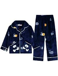 Pijamas dos piezas Pijamas Pijama Boy Full Lenth Nightwear Pijamas de Terciopelo Azul Marino para niños