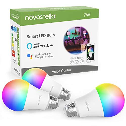 Novostella 3 Pack Smart Lampe E27 Alexa Glühbirnen Dimmbar RGB, 7W LED Wlan Smart Birne Google Home IFTTT, Timing Tunable White 2700K-6500K, 600lm, Fernbedienung von iOS & Android [Energieklasse A+]