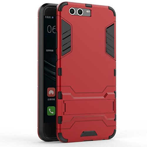 YHUISEN Huawei P10 Plus Case, 2 In 1 Eisen Rüstung Tough Style Hybrid Dual Layer Rüstung Defender PC + TPU Schutzhülle mit Stand Shockproof Case für Huawei P10 Plus ( Color : Red ) Red