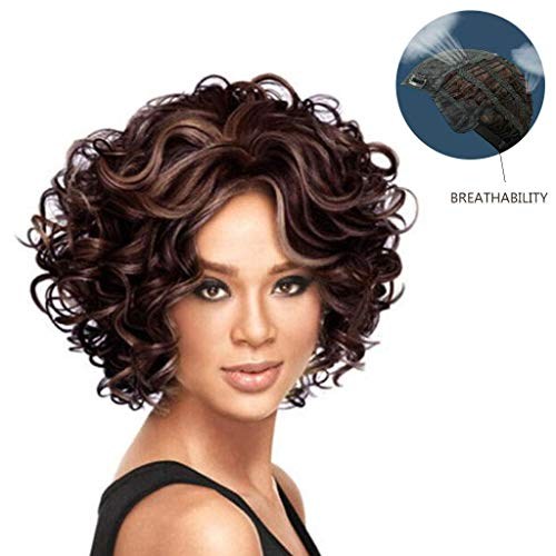 Womens Perücke, Brown Short Full Curly Lace Front Haar Sexy Kopfbedeckungen für Halloween Cosplay Party (Ms Brown Halloween Kostüm)