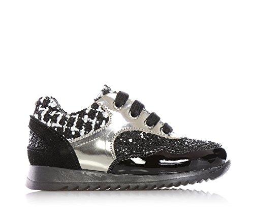 MISS GRANT - Chaussure à lacets noire en cuir, style élégant et chic, avec ourlet supérieur en tissu, partie antérieure avec glitter, partie postérieure en suède, Fille, Filles