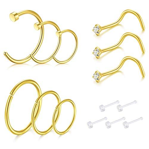 Zolure 9stk 18 Gauge Spirale Nasenstecker Nasenring Nasenpiercing Set 316L Chirurgenstahl Piercing Schmuck Gold (Gold 4 3 Nasenstecker)