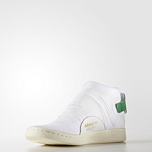 adidas Stan Smith Sock Primeknit, Sneakers Basses Femme Blanc (Footwear White/footwear White/green)