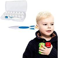 Kit Limpiador para Oídos, Limpiador de Cera de Oídos con Punta Suave en Espiral y 16 Puntas Remplazables de Silicona para la Higiene de Toda la Familia