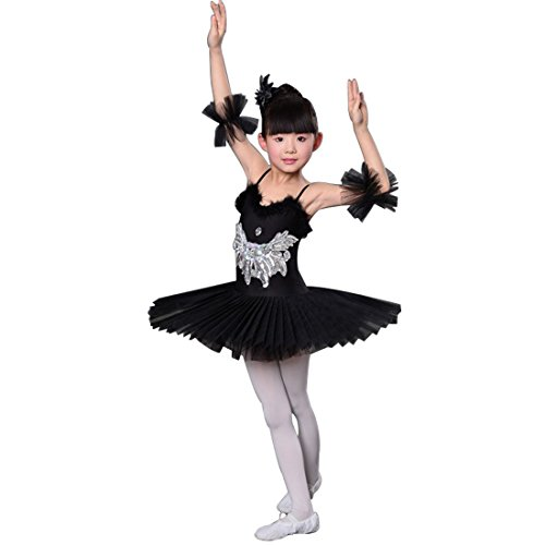 Huicai Kinder Pailletten Schwanensee Ballett Tanz Kostüme Professionelle Tutu Ballett tanzen Kleid Mädchen Ballsaal Bühne tragen Tanzkleid (Black Swan Kostüme Für Kinder)
