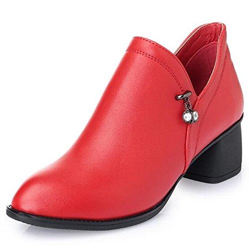Inverno Autunno punta donna Gray HSXZ pelle Grigio di piattaforma vera Nero Scarpe moda Rosso casual stivaletti Stivali appuntita Babbucce Stivali abbigliamento la xgIXXqPw