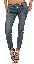 Sublevel Damen Slim Leg Stretch Jeans LSL-338/LSS-087 Röhre mit sichtbarer Knopfleiste, schmales Bein Dark Blue Denim M