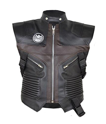 HLS Hawkeye Jeremy Renner The Avengers schwarz Kunstleder Weste Gr. Medium, schwarz (Hawkeye Avengers Age Of Ultron Kostüm)