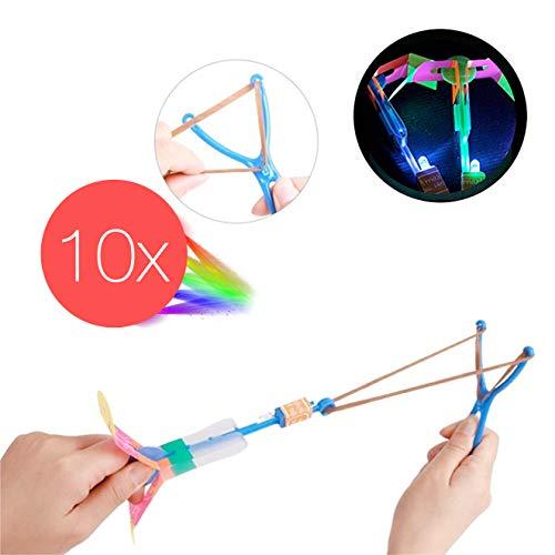 10x LED Helikopter Shoot Mitgebsel, Fluggerät, Hubschrauber, Schleuder, LED shooter , Kinderspielzeug , LED Rakete für Jungen und Mädchen / Kindergeburtstag / Party / Scherzartikel