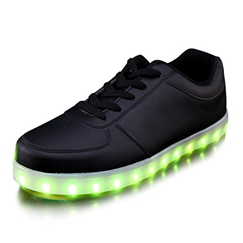 JoneyTM-Unisex-Adulto-7-Colore-USB-Carica-LED-Lampeggiante-Luminosi-Sneakers-Scarpe-Sportivet-Nero-Low-Cut