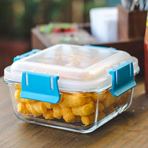 Frabjous Borosilicate Glass Microwave Safe Square Glass Food Storage Container Set - 350 ML - Blue