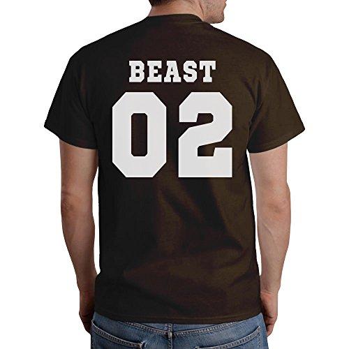 Pärchen T-Shirt Motiv Beauty & Beast Mit WUNSCHNUMMER T-Shirt Braun
