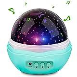 Projektor Licht Powcan Musik Multicolor Mond Sterne Projektor Nachtlicht Rotierenden Sternen LED Baby Projektion Lampe, 12 Soft Light Musik für Kinder, Wohnzimmer und Schlafzimmer