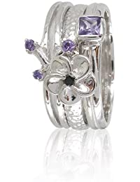 Stack Ring Co 925 Sterling Silver Electron CZ Three Stack Ring Set