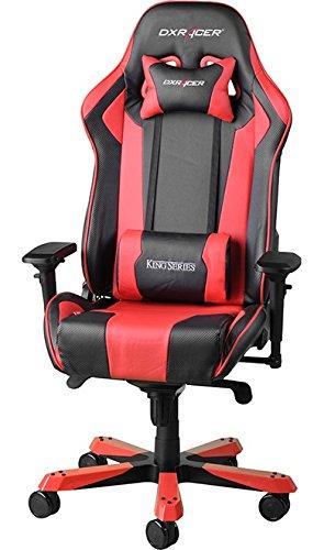 DXRacer King – Silla (Asiento acolchado, Negro, Rojo, Negro, Rojo, Negro, cuero PU, cuero PU)