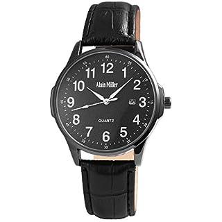 ALAIN MILLER Herrenuhr Schwarz Analog Datum Metall Leder Quarz Armbanduhr