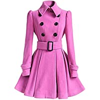 TJOIREJ Abrigos De Mujer Abrigo Largo De Mujer Outcoat Mid-LongTrench Coat, Rosa, L