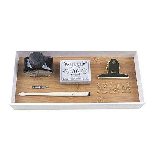 Jackcubedesign portaoggetti in vassoi di bambù in pelle vassoio di immagazzinaggio cosmetico organizer di cancelleria completo per chiavi, telefono, portafoglio, monete, gioielli e altro (bianco, 30,5 x 13,7 x 4,1 cm) -: mk205b
