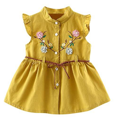 JUTOO Neue Kleinkind Baby mädchen Blumen lace-up Rock Party Dress Prinzessin Kleider (Gelb 2,70/6)