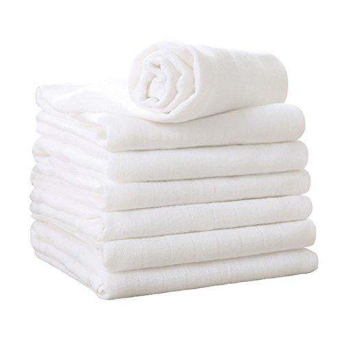 Mullwindeln Musselin Spucktücher Baumwolle Moltontücher 5er Set 3 Schichten Dick Stoffwindeln 90°C Waschbar für Baby von YOOFOSS (75 ×75 cm)