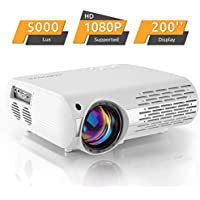 Beamer,5000 Lux Video Projektor (550 ANSI) Crenova XPE660 unterstützt Full HD 1080P Heimkino Beamer , Verbindung mit TV-Sticks, PS4 Xbox, HDMI, VGA, SD-Karten, AV- und USB-Geräten, (Aktualisierung),