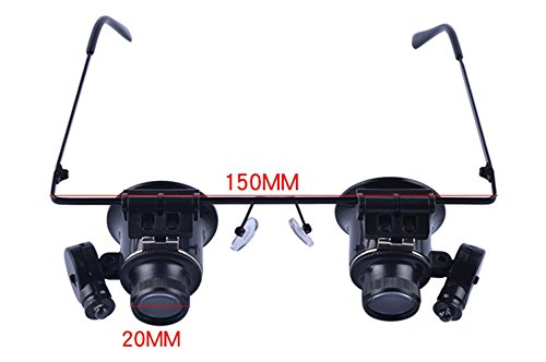 Doppelte Brille 20 mal Kopf tragen ein Vergrößerungsglas mit einer Lampe Uhr elektronische Wartung Schmuck Identifizierung Lupe High Definition